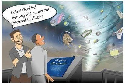 Als men geenintelligent ontwerpaanvaardt, moet men geloven dat wij bestaan en denken als consequentie van een volledig willekeurige verzameling van totaal niet-verbonden, arbitraire gebeurtenissen.Fred Hoylebeschreef de enorme onwaarschijnlijkheid van zoiets heel goed toen hij het vergeleek met 'de kans dat een tornado die door een schroothoop raast een Boeing 747 zou kunnen construeren'.