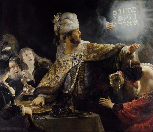 """Het feestmaal van Belsazar door Rembrandt - """"mene, mene, tekel, upharsin"""""""