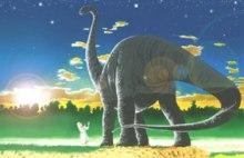 'Artist's impression' van mens en sauropoda (Steve Cardno)