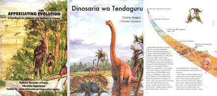 Omslag van een boekje uitgegeven door het Keniase museum (links). De omslag en de binnenkant(rechts) van een evolutionistisch boek over dinosauri?rs in Swahili (Tendaguru is een locatie in Tanzania waar dinosauri?rfossielen worden gevonden).
