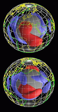 Dichtheidsstructuur van de mantel aan het oostelijk- (boven) en westelijk (onder) halfrond afgeleid uit seismische tomografie. Het blauw vertegenwoordigt gesteentes met een lage temperatuur en rood geeft het gesteente aan met hoge temperatuur. De heldergroene contouren vertegenwoordigen de huidige subductie zones (verwijderingsgebieden).