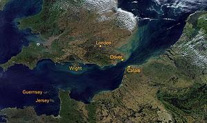 Luchtfoto van het Engelse Kanaal