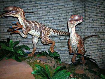 Ongevederd model van een dinonychus